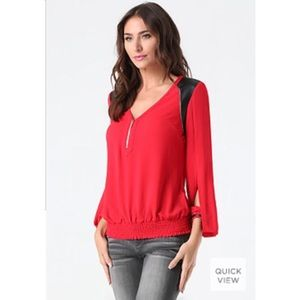 Bebe Red Veronica Blouson Leather Shoulder Top